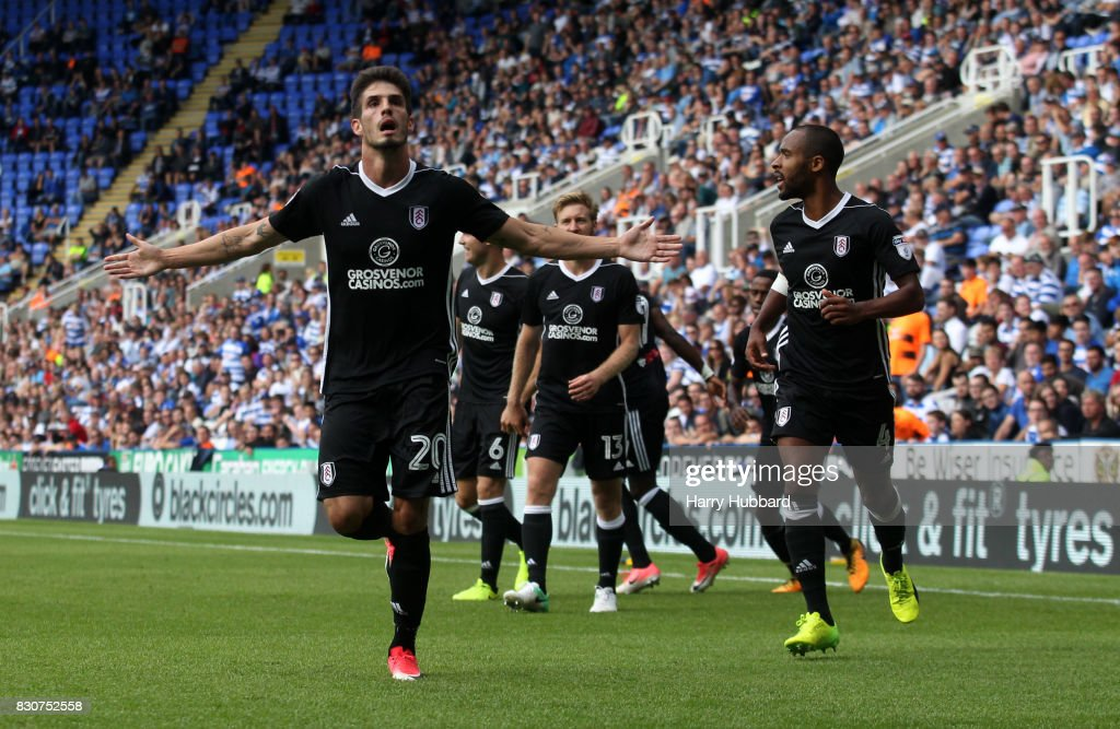 Lucas Piazon of Fulham celebrates scoring during the Sky Bet Championship match between Reading and Fulham at Madejski Stadium on August 12, 2017 in Reading, England.