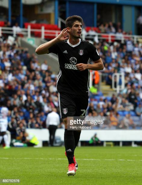 Lucas Piazon of Fulham celebrates scoring during the Sky Bet Championship match between Reading and Fulham at Madejski Stadium on August 12 2017 in...