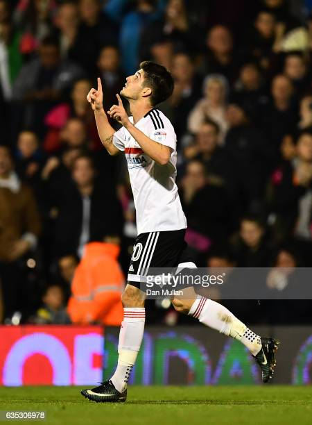 Lucas Piazon of Fulham celebrates scoring his side's second goal during the Sky Bet Championship match between Fulham and Nottingham Forest at Craven...