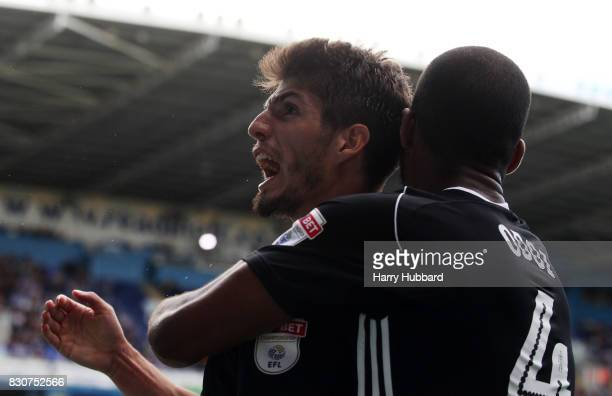 Lucas Piazon of Fulham celebrates with Denis Odoi after scoring during the Sky Bet Championship match between Reading and Fulham at Madejski Stadium...