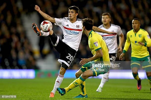 Lucas Piazon of Fulham controls the ball during the Sky Bet Championship match between Fulham and Norwich City at Craven Cottage on October 18 2016...