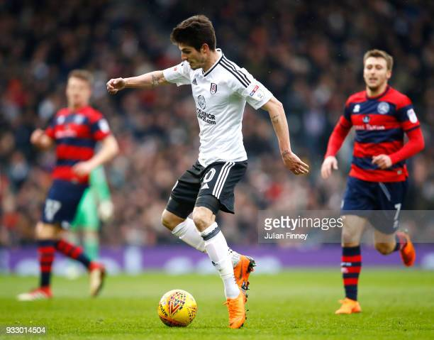 Lucas Piazon of Fulham runs with the ball during the Sky Bet Championship match between Fulham and Queens Park Rangers at Craven Cottage on March 17...