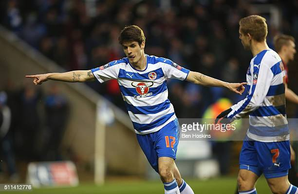 Lucas Piazon of Reading celebrates scoring his team's third goal during the Emirates FA Cup fifth round match between Reading and West Bromwich...