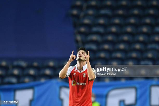 Lucas Piazon of SC Braga celebrates after scores his sides third goal during the Taca de Portugal Semi-Final Second Leg match between FC Porto and SC...