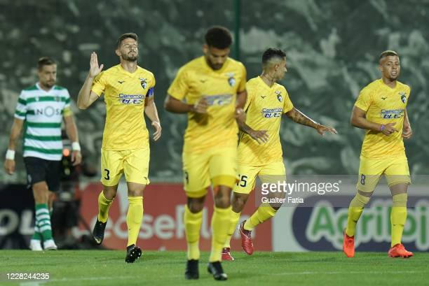 Lucas Possignolo of Portimonense SC celebrates after scoring a goal during the Friendly match between Portimonense SC and Sporting CP at Portimao...