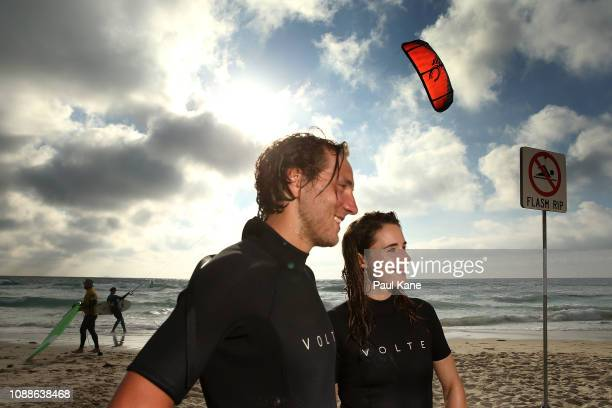 Lucas Pouille and Alize Cornet of France look on following a surfing lesson at Trigg Beach during day four of the 2019 Hopman Cup at RAC Arena on...