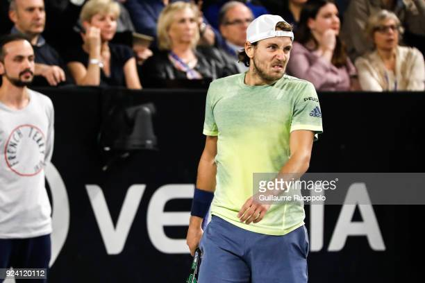 Lucas Pouille looks dejected during Single Final of Tennis Open 13 on February 25 2018 in Marseille France