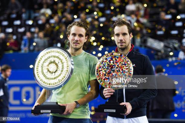 Lucas Pouille of France and Richard Gasquet of France during the Final Open Sud of France ATP Montpellier on February 11 2018 in Montpellier France