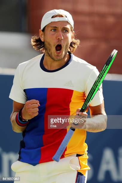 Lucas Pouille of France celebrates his third round victory over Mikhail Kukushkin of Russia on Day Five of the 2017 US Open at the USTA Billie Jean...