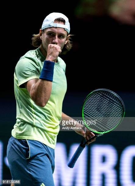 Lucas Pouille of France celebrates winning a game during the 1st set in the round match against Andrey Rublev of Russia during day 3 of the ABN AMRO...
