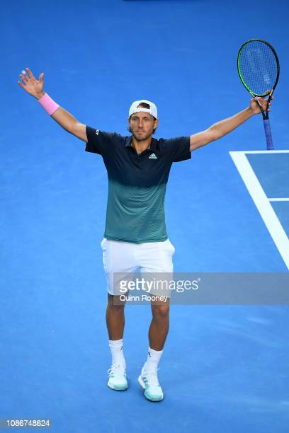 Lucas Pouille of France celebrates winning his quarter final match against Milos Raonic of Canada during day 10 of the 2019 Australian Open at...
