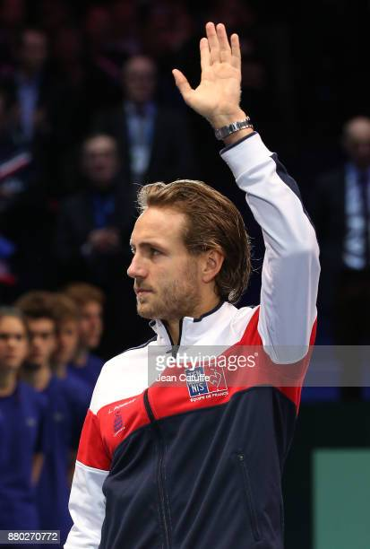 Lucas Pouille of France during the doubles match on day 2 of the Davis Cup World Group final between France and Belgium at Stade Pierre Mauroy on...