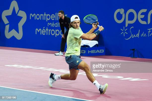 Lucas Pouille of France during the Final Open Sud of France ATP Montpellier on February 11 2018 in Montpellier France