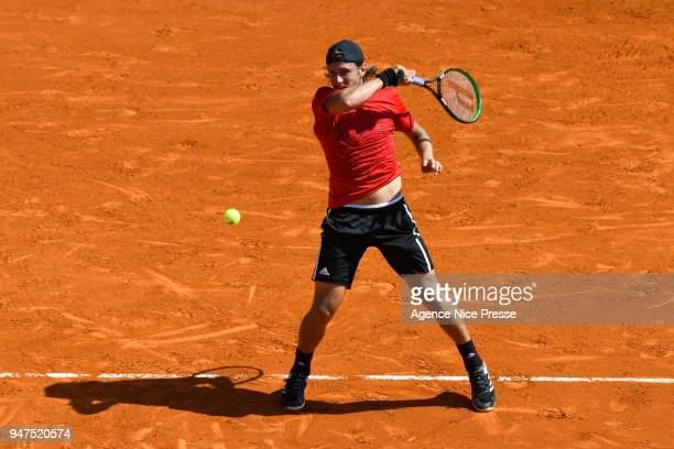 Lucas Pouille of France during the Monte Carlo Rolex Masters 1000 at Monte Carlo on April 17 2018 in Monaco Monaco