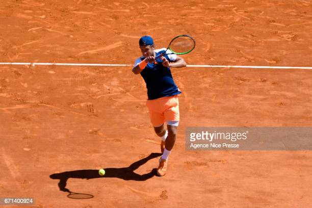 Lucas Pouille of France during the Monte Carlo Rolex Masters 2017 on April 21 2017 in Monaco Monaco
