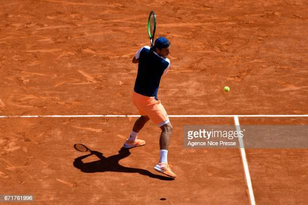 Lucas Pouille of France during the Monte Carlo Rolex Masters 2017 on April 22 2017 in Monaco Monaco
