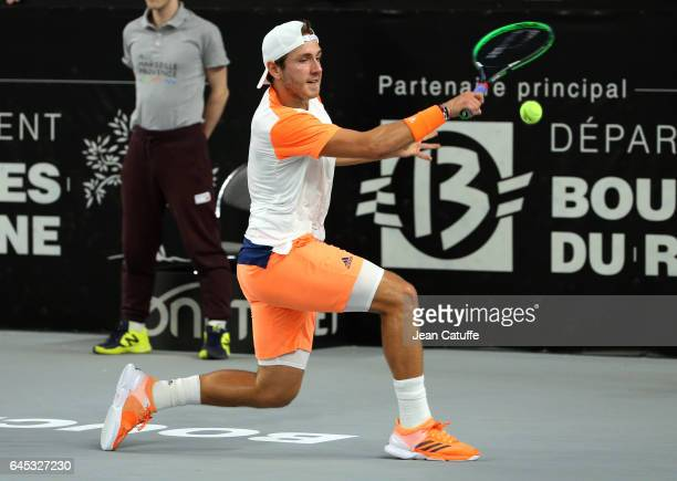 Lucas Pouille of France in action during his semi-final at the Open 13, an ATP 250 tennis tournament at Palais des Sports on February 25, 2017 in...