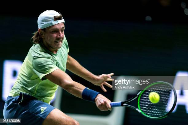 Lucas Pouille of France in action his first round match against Andrey Rublev of Russia during day 3 of the ABN AMRO World Tennis Tournament held at...