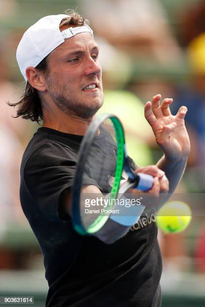 Lucas Pouille of France plays a forehand against Andrey Rublev of Russia during day three of the 2018 Kooyong Classic at Kooyong on January 11 2018...