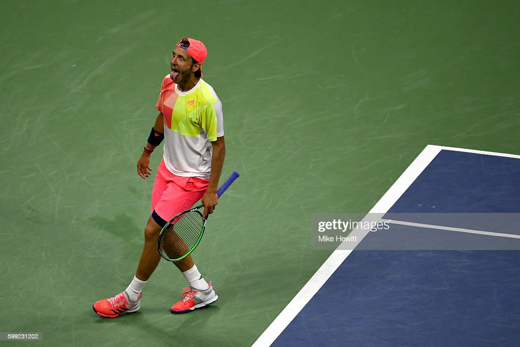 Lucas Pouille of France reacts after defeating Rafael Nadal of Spain during his fourth round Men's Singles match on Day Seven of the 2016 US Open at the USTA Billie Jean King National Tennis Center on September 4, 2016 in the Flushing neighborhood of the Queens borough of New York City.