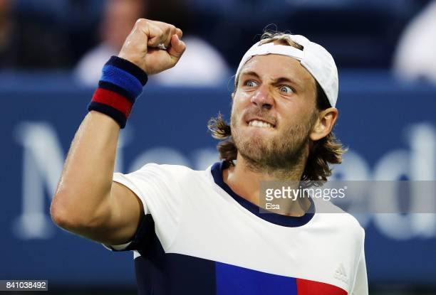 Lucas Pouille of France reacts against Jared Donaldson of the United States during their second round Men's Singles match on Day Three of the 2017 US...