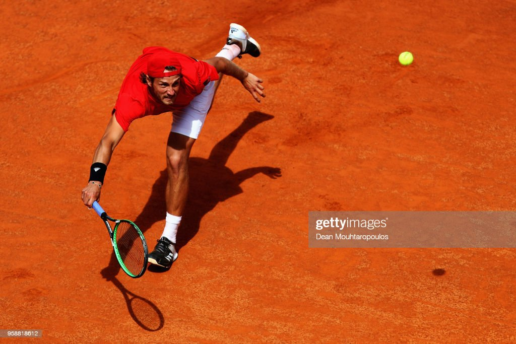 Lucas Pouille of France returns a forehand in his match against Andreas Seppi of Italy during day 3 of the Internazionali BNL d'Italia 2018 tennis at Foro Italico on May 15, 2018 in Rome, Italy.