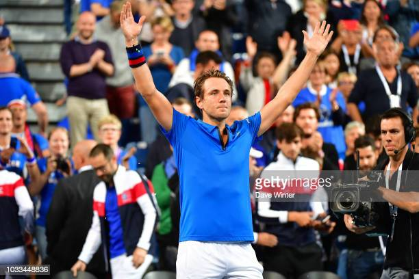 Lucas Pouille of France wins during Day 1 of the Davis Cup semi final on September 14 2018 in Lille France