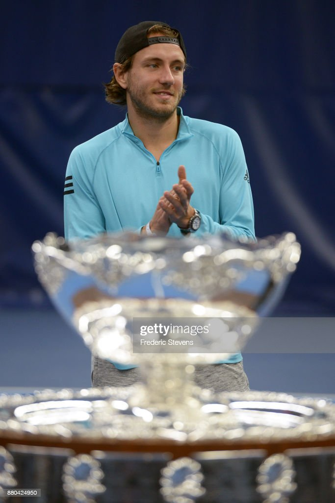 Lucas Pouille poses with the Davis Cup after victory over Belgium at the weekend in Villeneuve d'Ascq, on November 27, 2017 in Paris, France.