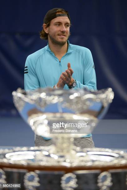Lucas Pouille poses with the Davis Cup after victory over Belgium at the weekend in Villeneuve d'Ascq on November 27 2017 in Paris France