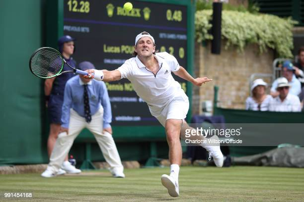 Lucas Pouille v Dennis Novak Lucas Rouille at All England Lawn Tennis and Croquet Club on July 4 2018 in London England