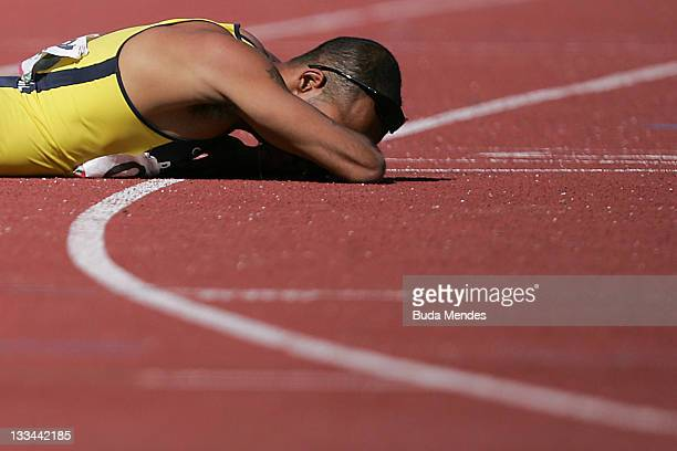 Lucas Prado cries after losing the Men's 400m T11 during the 2011 Parapan American Games at Telmex Athletics Stadium on November 18 2011 in...