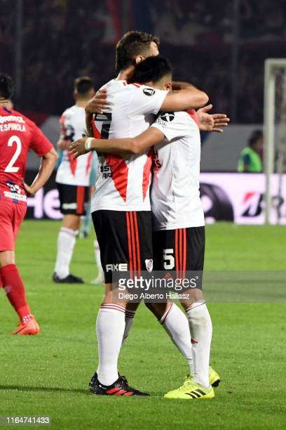 Lucas Pratto and Exequiel Palacios of River Plate celebrate their qualification to the semifinals after a match between Cerro Porteño and River Plate...