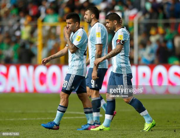 Lucas Pratto Angel Correa and Ever Banega of Argentina leave the field after a match between Bolivia and Argentina as part of FIFA 2018 World Cup...