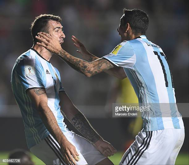 Lucas Pratto of Argentina celebrates after scoring the second goal of his team during a match between Argentina and Colombia as part of FIFA 2018...