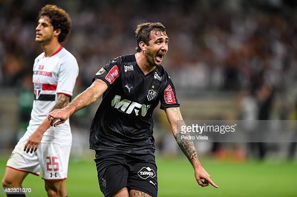 Lucas Pratto of Atletico MG celebrates a scored goal against Sao Paulo during a match between Atletico MG and Sao Paulo as part of Brasileirao Series...