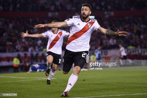Lucas Pratto of River Plate celebrate after scoring during a round of sixteen second leg match between River Plate and Racing Club as part of Copa...