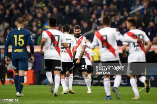Lucas Pratto of River Plate celebrates after scoring his team's first goal during the second leg of the final match of Copa CONMEBOL Libertadores...
