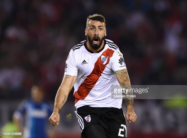 Lucas Pratto of River Plate celebrates after scoring the first goal of his team during a round of sixteen second leg match between River Plate and...