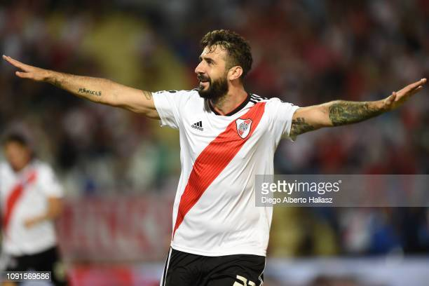 Lucas Pratto of River Plate celebrates after scoring the first goal of his team during a match between Godoy Cruz and River Plate as part of...