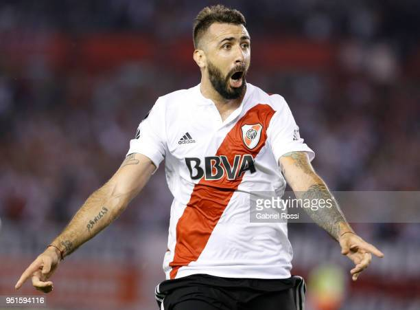 Lucas Pratto of River Plate celebrates after scoring the first goal of his team during a match between River Plate and Emelec as part of Copa...