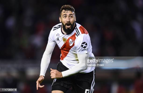 Lucas Pratto of River Plate celebrates after scoring the second goal of his team during the second leg match of the final of the CONMEBOL Recopa...