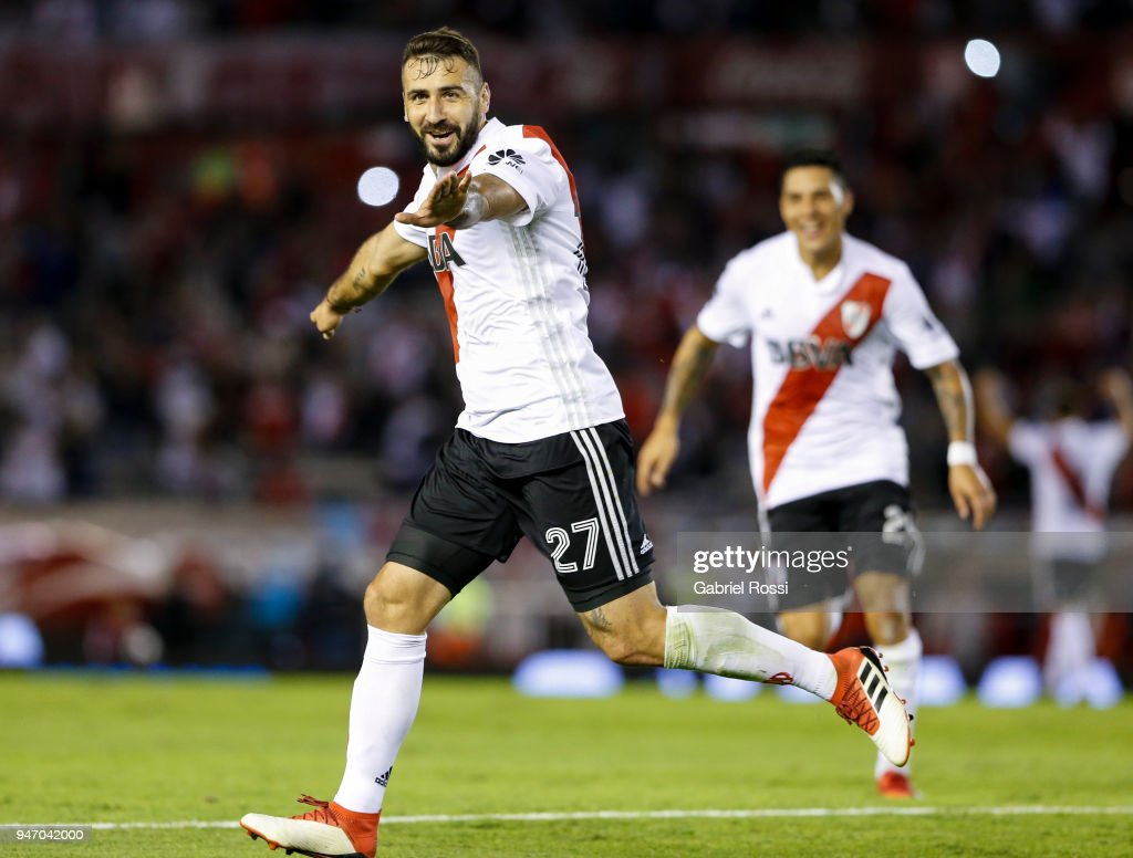 Lucas Pratto of River Plate celebrates after scoring the second goal of his team during a match between River Plate and Rosario Central as part of Superliga 2017/18 at Estadio Monumental Antonio Vespucio Liberti on April 15, 2018 in Buenos Aires, Argentina.