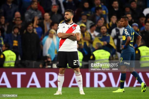 Lucas Pratto of River Plate celebrates scoring a goal to make the score 11 during the second leg of the final match of Copa CONMEBOL Libertadores...
