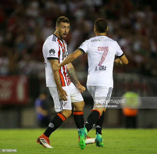 Lucas Pratto of River Plate celebrates with teammate Rodrigo Mora after scoring the second goal of his team during a match between River Plate and...