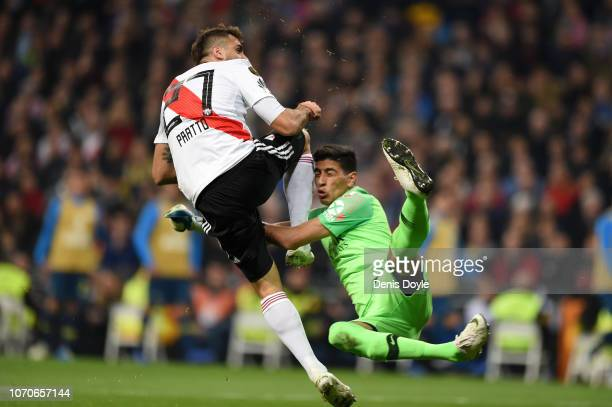 Lucas Pratto of River Plate collides with Esteban Andrada of Boca Juniors during the second leg of the final match of Copa CONMEBOL Libertadores 2018...