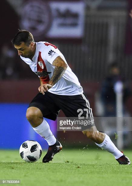 Lucas Pratto of River Plate drives the ball during a match between Lanus and River Plate as part of the Superliga 2017/18 at Ciudad de Lanus Stadium...