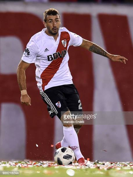 Lucas Pratto of River Plate drives the ball during a match between River Plate and Belgrano as part of Superliga 2017/18 at Monumental Antonio...