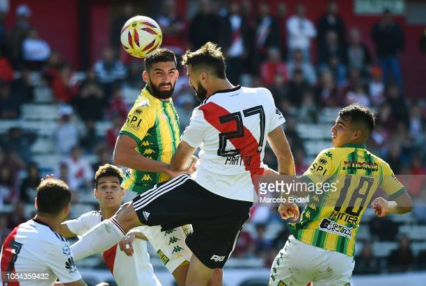 Lucas Pratto of River Plate heads the ball during a match between River Plate and Aldosivi as part of Superliga 2018/19 at Estadio Monumental Antonio...