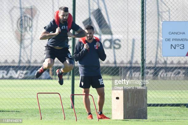 Lucas Pratto of River Plate in action during a training session at River Camp Ezeiza on March 21 2019 in Buenos Aires Argentina