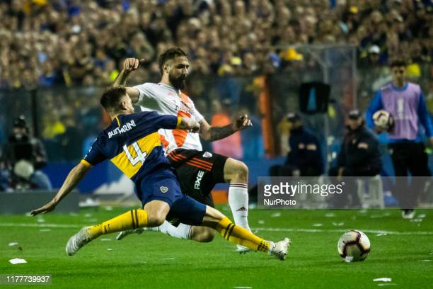 Lucas Pratto of River Plate in action during the second leg match between River Plate and Boca Juniors as part of the semi-finals of Copa CONMEBOL...